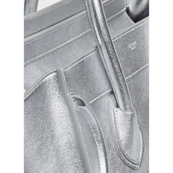 セリーヌ CELINE バッグ バック ハンドバッグ シルバー ラミネーテッドラムスキン レザー 本革 ロゴ