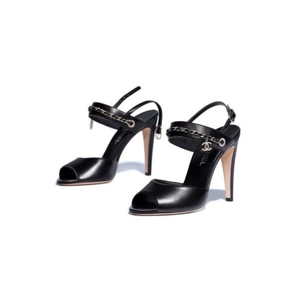シャネル CHANEL 靴 サンダル 新作 ブラック ラムスキン ココマーク CCロゴ