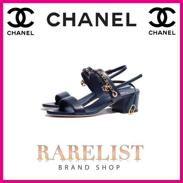 シャネル CHANEL 靴 サンダル 新作 ネイビー ラムスキン ココマーク CCロゴ