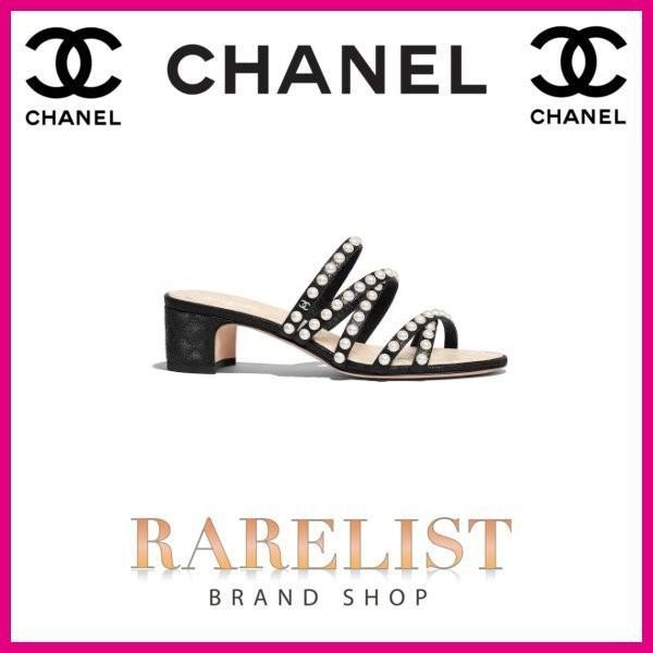 シャネル CHANEL 靴 サンダル ミュール  新作 ブラック ラムスキン ココマーク CCロゴ