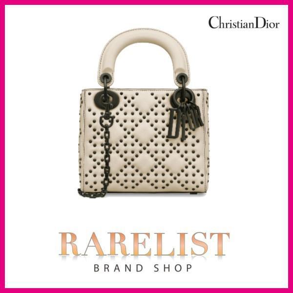 クリスチャンディオール ディオール Christian Dior バッグ  ハンドバッグ チェーン ショルダー 新作 エクリュ アイボリー スタッズ レザー ミニバッグ