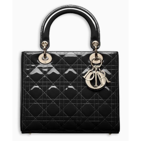 クリスチャンディオール ディオール Christian Dior バッグ ハンドバッグ チェーン ショルダー 新作 ブラック ゴールド エナメル レザー