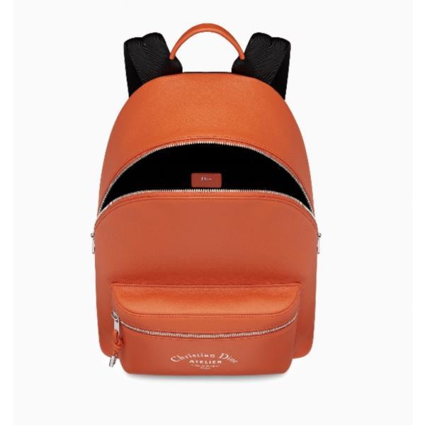 ディオールオム DIOR HOMME バッグ バック リュックサック バックパック 新作 オレンジ シルバー レザー ロゴ プリント