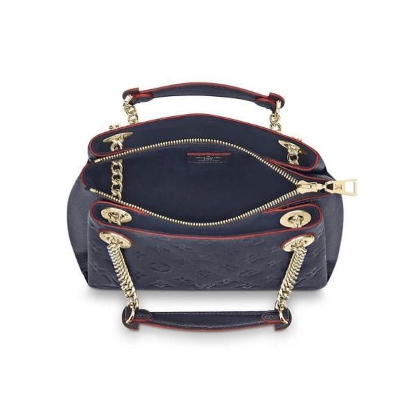 ルイヴィトン LOUIS VUITTON バッグ バック トートバッグ チェーン マリーヌルージュ ネイビー ゴールド レザー 本革 モノグラム アンプラント LV ロゴ