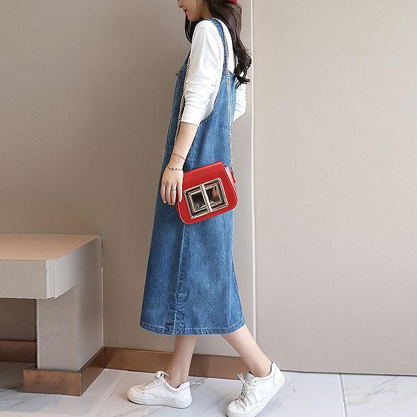 ワンピース レディース デニムワンピース 体型カバー ジャンパースカート サロペット デニム 大きいサイズ (b106)(Pr)(ゆうパケット送料無料)|raspberryy|05