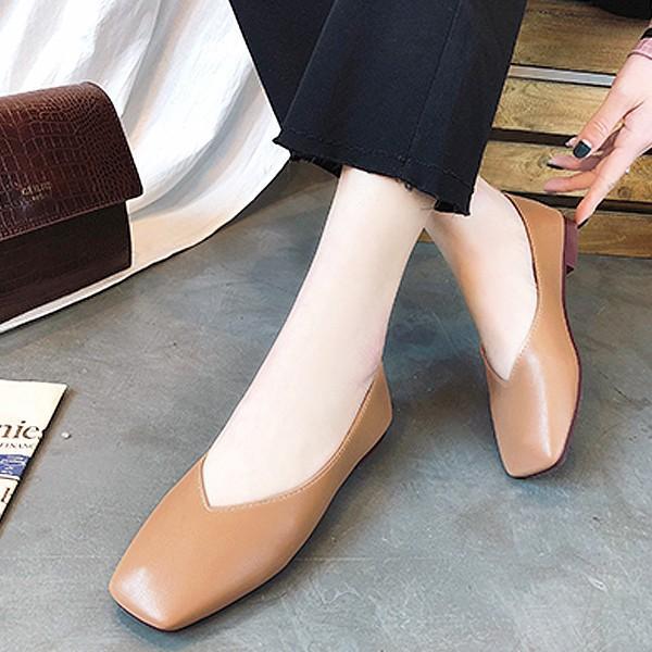 パンプス 痛くない 歩きやすい ローヒール オフィス 大きいサイズ スクエア ぺたんこ フォーマル フラット ^bo-564^|raspberryy|02