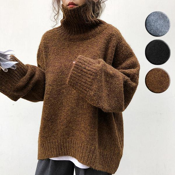 ざっくりニット タートルネック レディース 韓国 厚手 オーバーサイズ ゆったり セーター (送料無料)^t630^|raspberryy