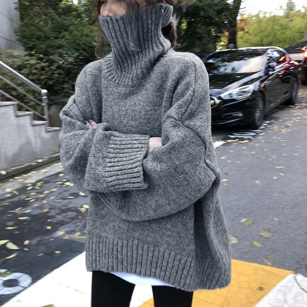 ざっくりニット タートルネック レディース 韓国 厚手 オーバーサイズ ゆったり セーター (送料無料)^t630^|raspberryy|11