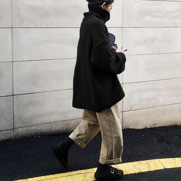 ざっくりニット タートルネック レディース 韓国 厚手 オーバーサイズ ゆったり セーター (送料無料)^t630^|raspberryy|12