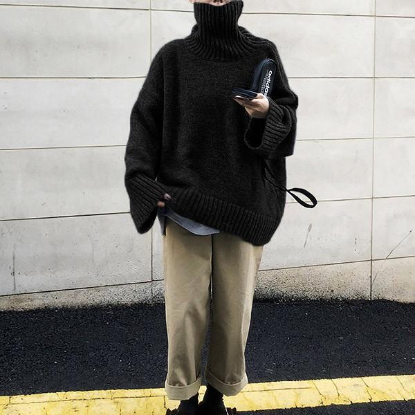 ざっくりニット タートルネック レディース 韓国 厚手 オーバーサイズ ゆったり セーター (送料無料)^t630^|raspberryy|13