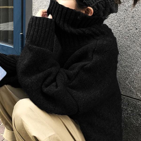 ざっくりニット タートルネック レディース 韓国 厚手 オーバーサイズ ゆったり セーター (送料無料)^t630^|raspberryy|14