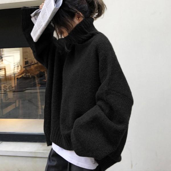 ざっくりニット タートルネック レディース 韓国 厚手 オーバーサイズ ゆったり セーター (送料無料)^t630^|raspberryy|16