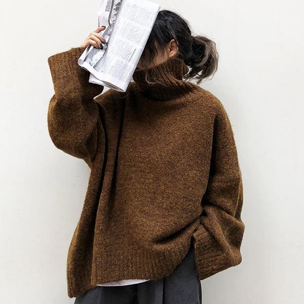 ざっくりニット タートルネック レディース 韓国 厚手 オーバーサイズ ゆったり セーター (送料無料)^t630^|raspberryy|03