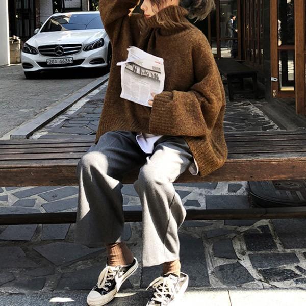 ざっくりニット タートルネック レディース 韓国 厚手 オーバーサイズ ゆったり セーター (送料無料)^t630^|raspberryy|06