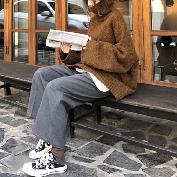 ざっくりニット タートルネック レディース 韓国 厚手 オーバーサイズ ゆったり セーター (送料無料)^t630^|raspberryy|07