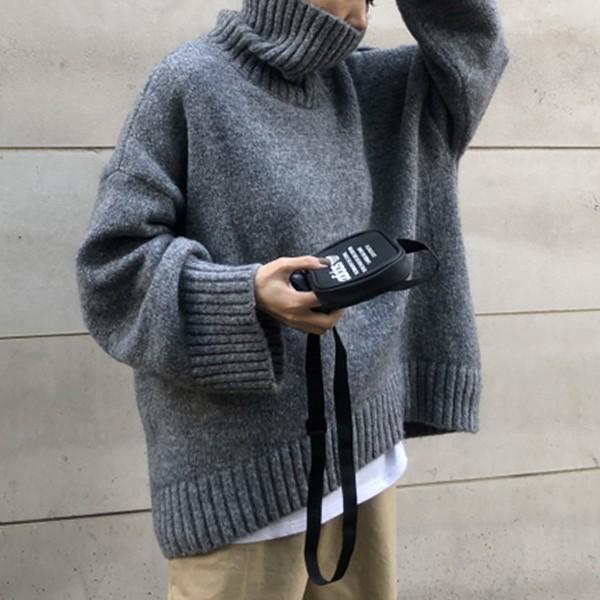 ざっくりニット タートルネック レディース 韓国 厚手 オーバーサイズ ゆったり セーター (送料無料)^t630^|raspberryy|08