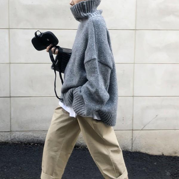 ざっくりニット タートルネック レディース 韓国 厚手 オーバーサイズ ゆったり セーター (送料無料)^t630^|raspberryy|09
