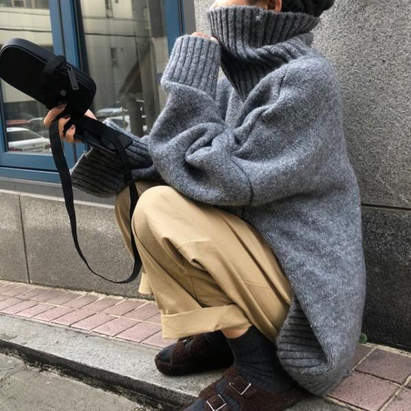ざっくりニット タートルネック レディース 韓国 厚手 オーバーサイズ ゆったり セーター (送料無料)^t630^|raspberryy|10
