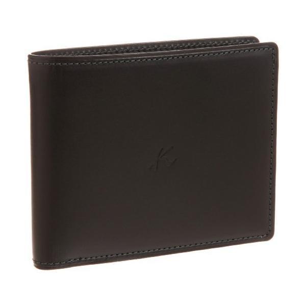 キタムラ 財布ZH0071ブラック/ダークグリーンステッチ 黒 15321