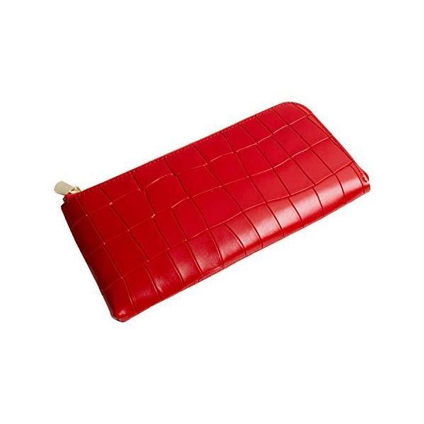 MALTA 長財布レディース牛革レザーL字ファスナー長財布クロコ型押薄型大容量コンパクトスリム薄いL字ラウンドファスナークロコ