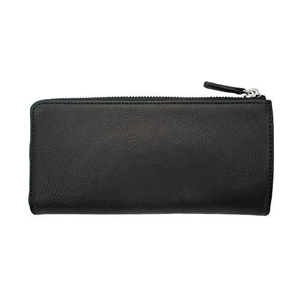 SAMIKAスリムナチュラル長財布本革牛革(ブラック(Black))メンズウォレット本革製小銭入れ付薄いL字ファスナーレディース
