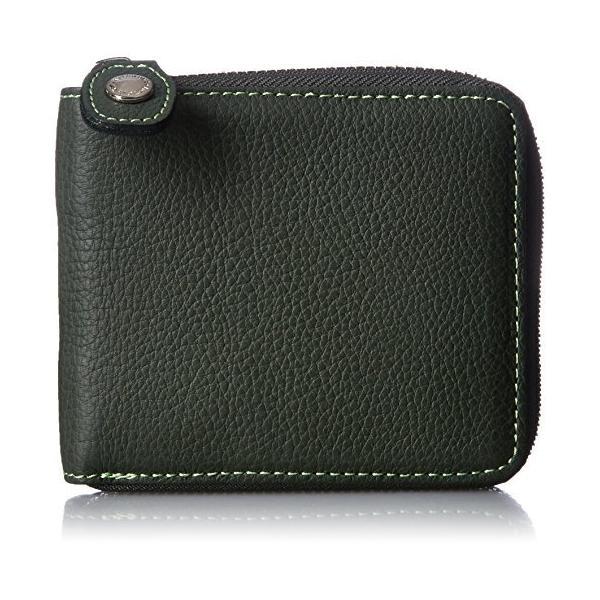 キタムラ 二折財布ラウンドファスナータイプYH0083ダークグリーン/ライトグリーンステッチ 緑 32311