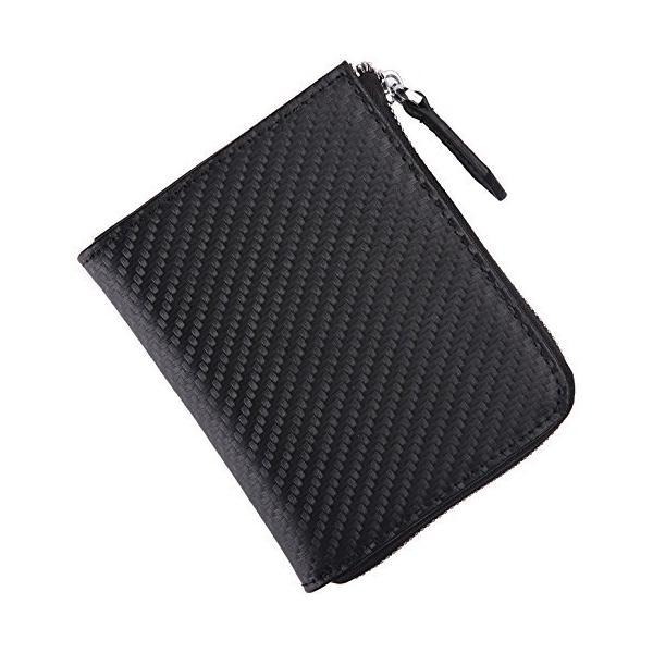 財布L字ファスナー薄い財布小銭入れコインケース小さい財布カーボンレザー(カーボンブラック)