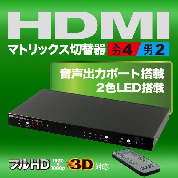4入力2出力HDMIマトリックススイッチ REX-HDSW42|ratoc