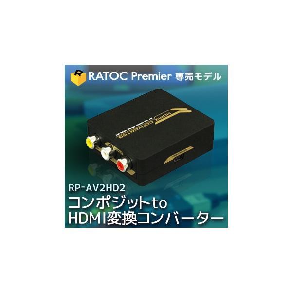 アナログ(コンポジット映像:CVBS)信号をデジタル(HDMI)信号に変換(給電用USBケーブル付き) コンポジット to HDMI 変換コンバーター RP-AV2HD2|ratoc