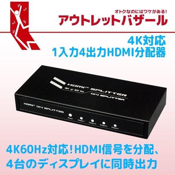 アウトレット特価 4K60Hz対応1入力4出力HDMI分配器 RP-HDSP4-4K OL ratoc