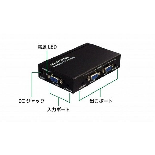 1入力2出力VGA分配器 RP-VGASP2P アナログRGB(D-sub 15ピン)出力のVGA信号を2分配してディスプレイに出力するスプリッター メーカー1年保証|ratoc|03
