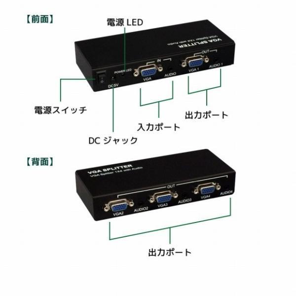1入力4出力VGA分配器 RP-VGASP4P アナログRGB(D-sub 15ピン)出力のVGA信号を4分配してディスプレイに出力するスプリッター メーカー1年保証 ratoc 03