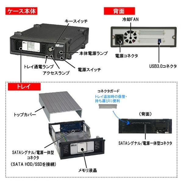 アウトレット特価 REX-SATA Mシリーズ USB3.0/USB2.0 リムーバブルケース(メモリ液晶付、外付け1ベイ) SAM-DK1-U3 OL|ratoc|03