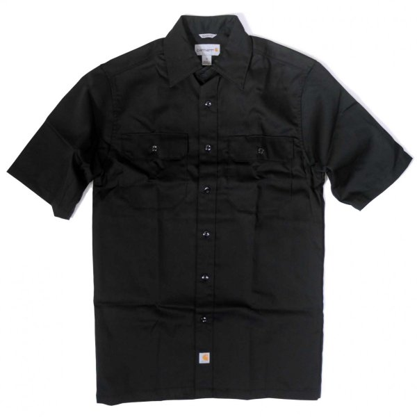 カーハート ショートスリーブ ツイル ワーク シャツ ブラック メンズ|rawdrip