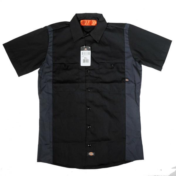 ディッキーズ インダストリアル カラー ブロック ショートスリーブ シャツ ブラック/チャコール|rawdrip
