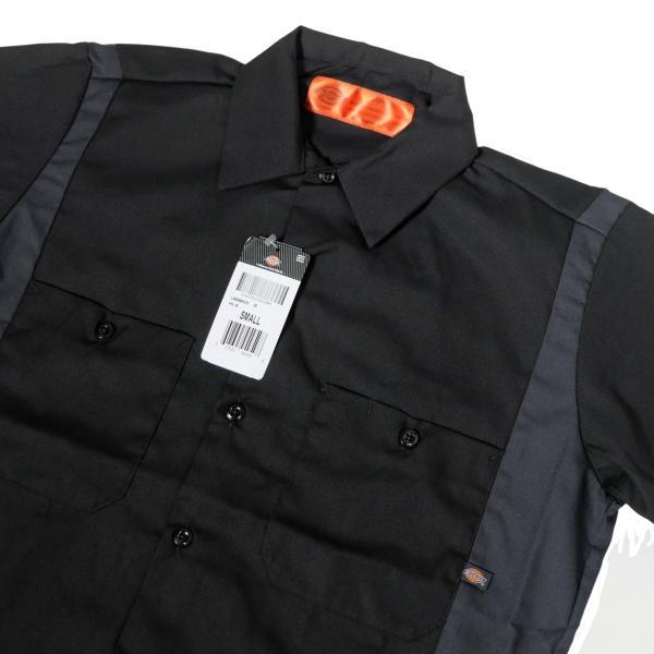 ディッキーズ インダストリアル カラー ブロック ショートスリーブ シャツ ブラック/チャコール|rawdrip|02