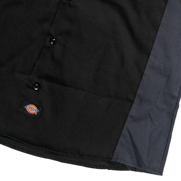 ディッキーズ インダストリアル カラー ブロック ショートスリーブ シャツ ブラック/チャコール|rawdrip|03