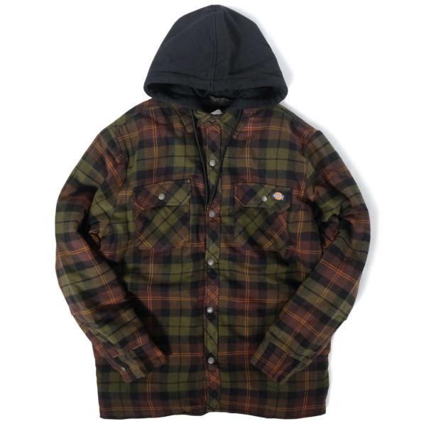 ディッキーズ リラックスフィット アイコン フード キルティング シャツ ジャケット チョコレート/タクティカルグリーン プレイド メンズ|rawdrip