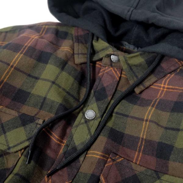 ディッキーズ リラックスフィット アイコン フード キルティング シャツ ジャケット チョコレート/タクティカルグリーン プレイド メンズ|rawdrip|02