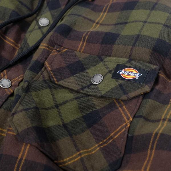 ディッキーズ リラックスフィット アイコン フード キルティング シャツ ジャケット チョコレート/タクティカルグリーン プレイド メンズ|rawdrip|03