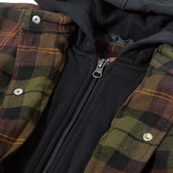 ディッキーズ リラックスフィット アイコン フード キルティング シャツ ジャケット チョコレート/タクティカルグリーン プレイド メンズ|rawdrip|04
