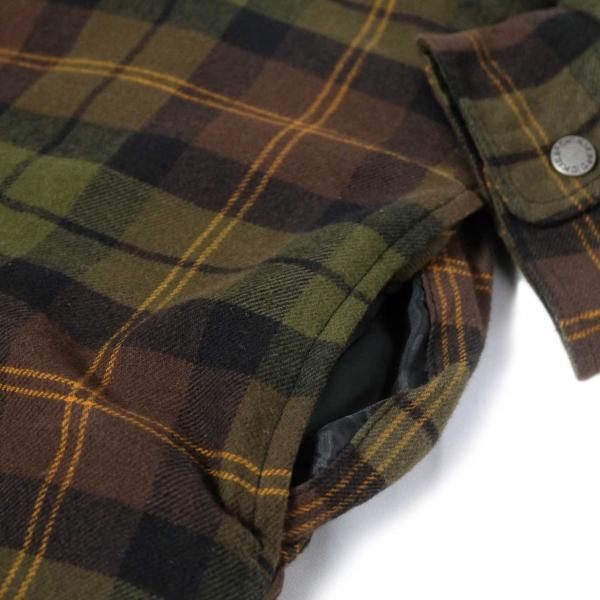 ディッキーズ リラックスフィット アイコン フード キルティング シャツ ジャケット チョコレート/タクティカルグリーン プレイド メンズ|rawdrip|06