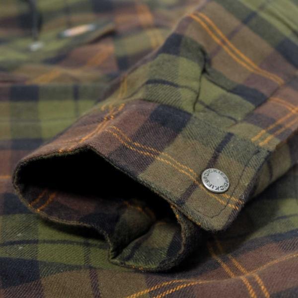 ディッキーズ リラックスフィット アイコン フード キルティング シャツ ジャケット チョコレート/タクティカルグリーン プレイド メンズ|rawdrip|07