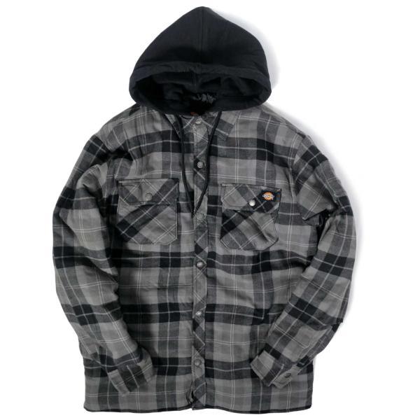 ディッキーズ リラックスフィット アイコン フード キルティング シャツ ジャケット スレート グラファイト プレイド メンズ rawdrip