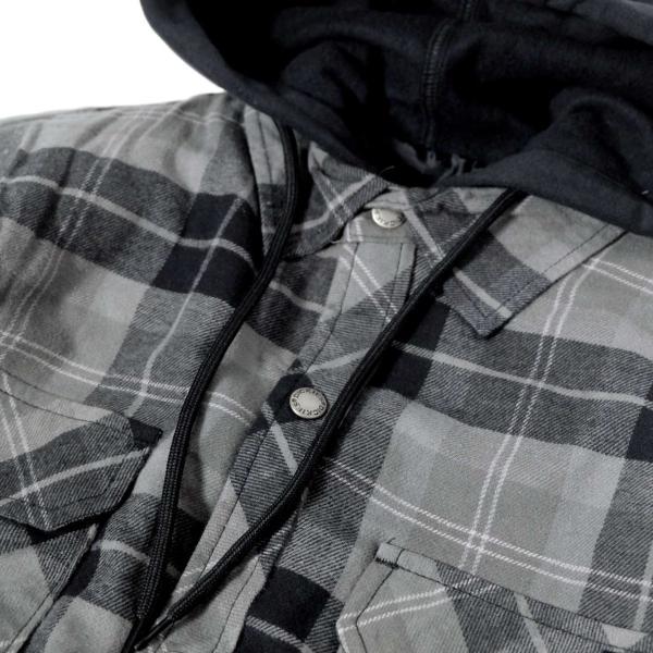 ディッキーズ リラックスフィット アイコン フード キルティング シャツ ジャケット スレート グラファイト プレイド メンズ rawdrip 02