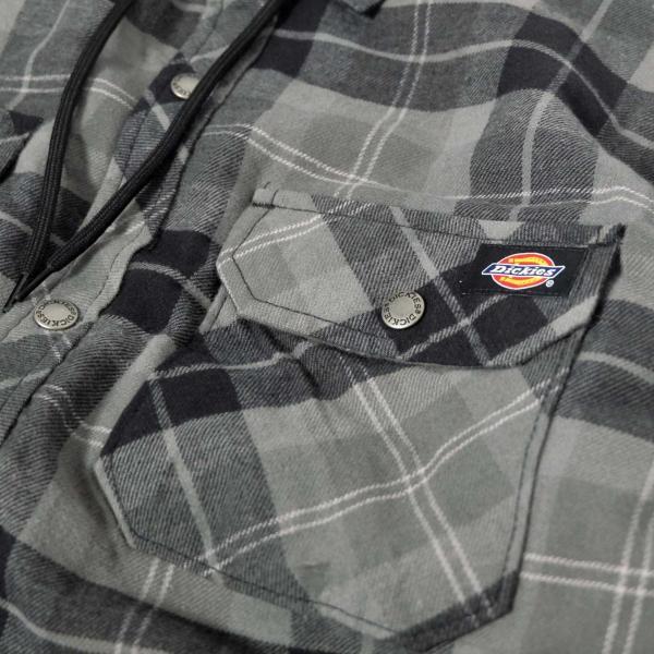 ディッキーズ リラックスフィット アイコン フード キルティング シャツ ジャケット スレート グラファイト プレイド メンズ rawdrip 03