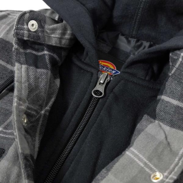 ディッキーズ リラックスフィット アイコン フード キルティング シャツ ジャケット スレート グラファイト プレイド メンズ rawdrip 04