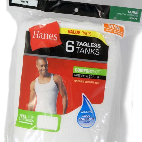 ヘインズ 6P タグレス タンクトップ ホワイト メンズ 下着|rawdrip|02