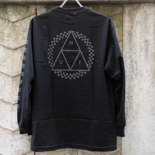 ハフ ブラックアウト トリプルトライアングル ロングスリーブ Tシャツ ブラック|rawdrip