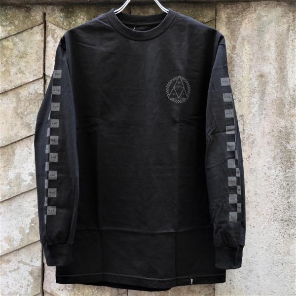ハフ ブラックアウト トリプルトライアングル ロングスリーブ Tシャツ ブラック|rawdrip|02